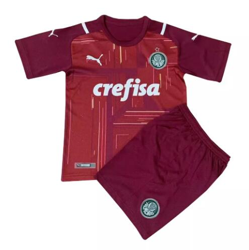Palmeiras Kids Goalkeeper Soccer Jerseys 2021-22 Red Football Kits + Shorts