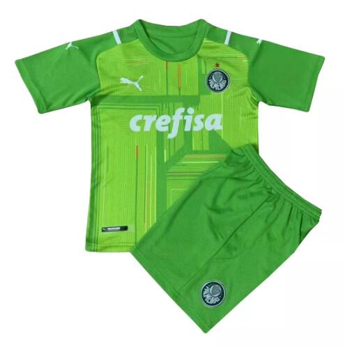 Palmeiras Kids Goalkeeper Soccer Jerseys 2021-22 Green Football Kits + Shorts