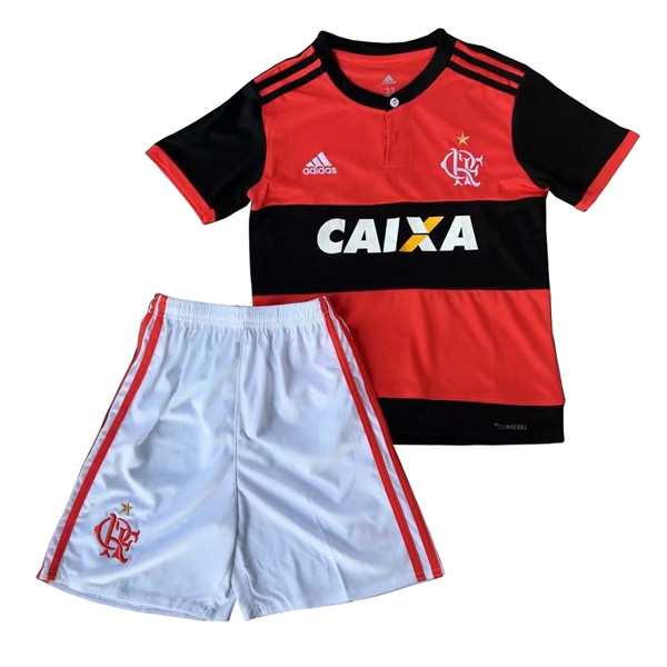 Flamengo 2017-18 Home Kids Soccer Kit Children Shirt And Shorts