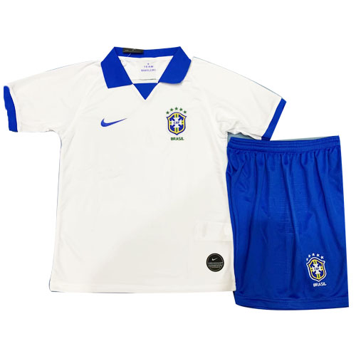Brazil Home White Children's Jerseys Kit(Shirt+Short) 2019