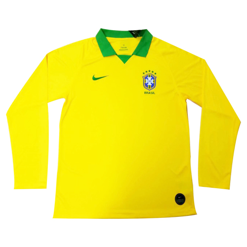 Brazil Home Yellow 2019 Long Sleeve Jerseys Shirt