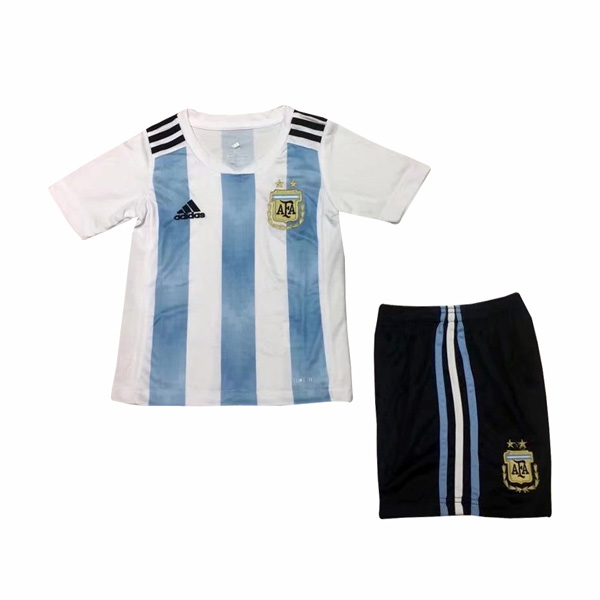 Argentina 2018 World Cup Home Kids Soccer Kit Children Shirt And Shorts