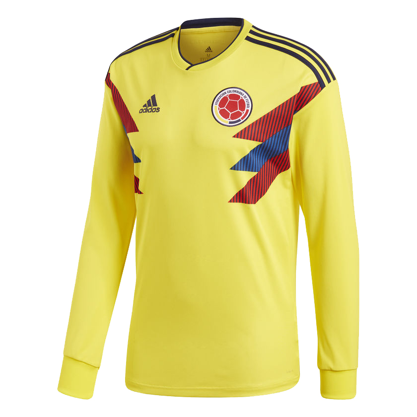 Colombia 2018 World Cup Home Long Sleeved Soccer Jersey Shirt