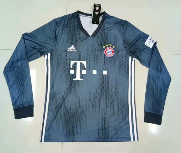 Bayern Munich Long Sleeve Soccer Jerseys 2018-19 Third Football Shirts