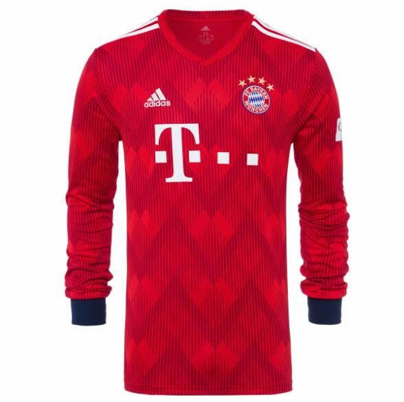 Bayern Munich Long Sleeve Soccer Jerseys 2018-19 Home Football Shirts