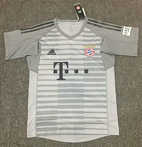 Bayern Munich Short Sleeve Goalkeeper Soccer Jerseys 2018-19 Grey Football Shirts