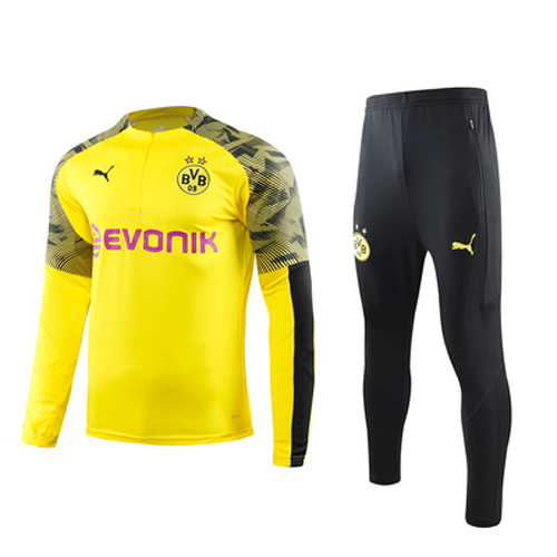 Borussia Dortmund 19/20 Yellow Zipper Sweat Shirt Kit(Top+Trouser)