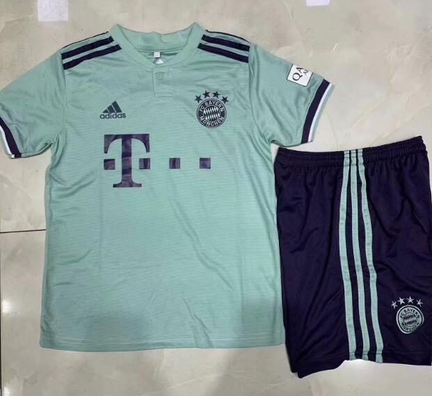 Kids Bayern Munich Soccer Jerseys 2018-19 Away Football Kits (Shirt + Shorts)