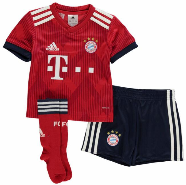 Kids Bayern Munich Soccer Jerseys 2018-19 Home Football Sets (Shirt + Shorts + Socks)