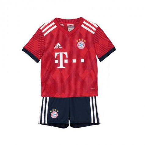 Kids Bayern Munich Soccer Jerseys 2018-19 Home Football Kits (Shirt + Shorts)