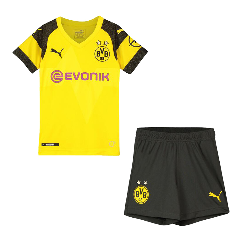 Kids Borussia Dortmund Soccer Jerseys 2018-19 Home Football Kits (Shirt + Shorts)