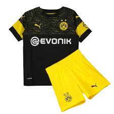 Kids Borussia Dortmund Soccer Jerseys 2018-19 Away Football Kits (Shirt + Shorts)