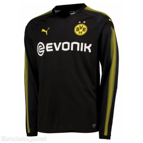Borussia Dortmund 2017-18 Away Long Sleeved Shirt Soccer Jersey