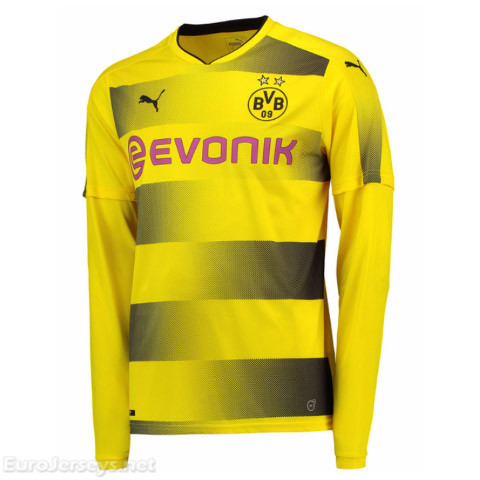 Borussia Dortmund 2017-18 Home Long Sleeved Shirt Soccer Jersey