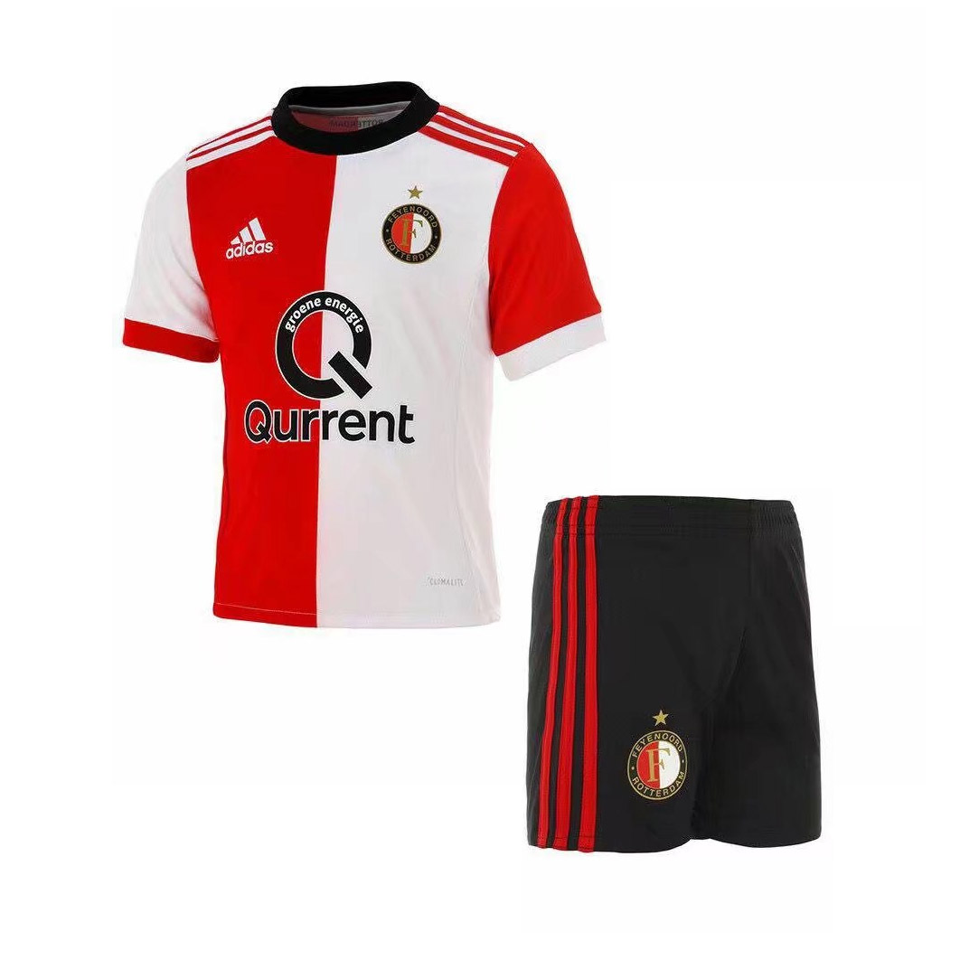 Feyenoord Rotterdam Kids Soccer Jersey 2017-18 Home Football Kit Children Shirt And Shorts