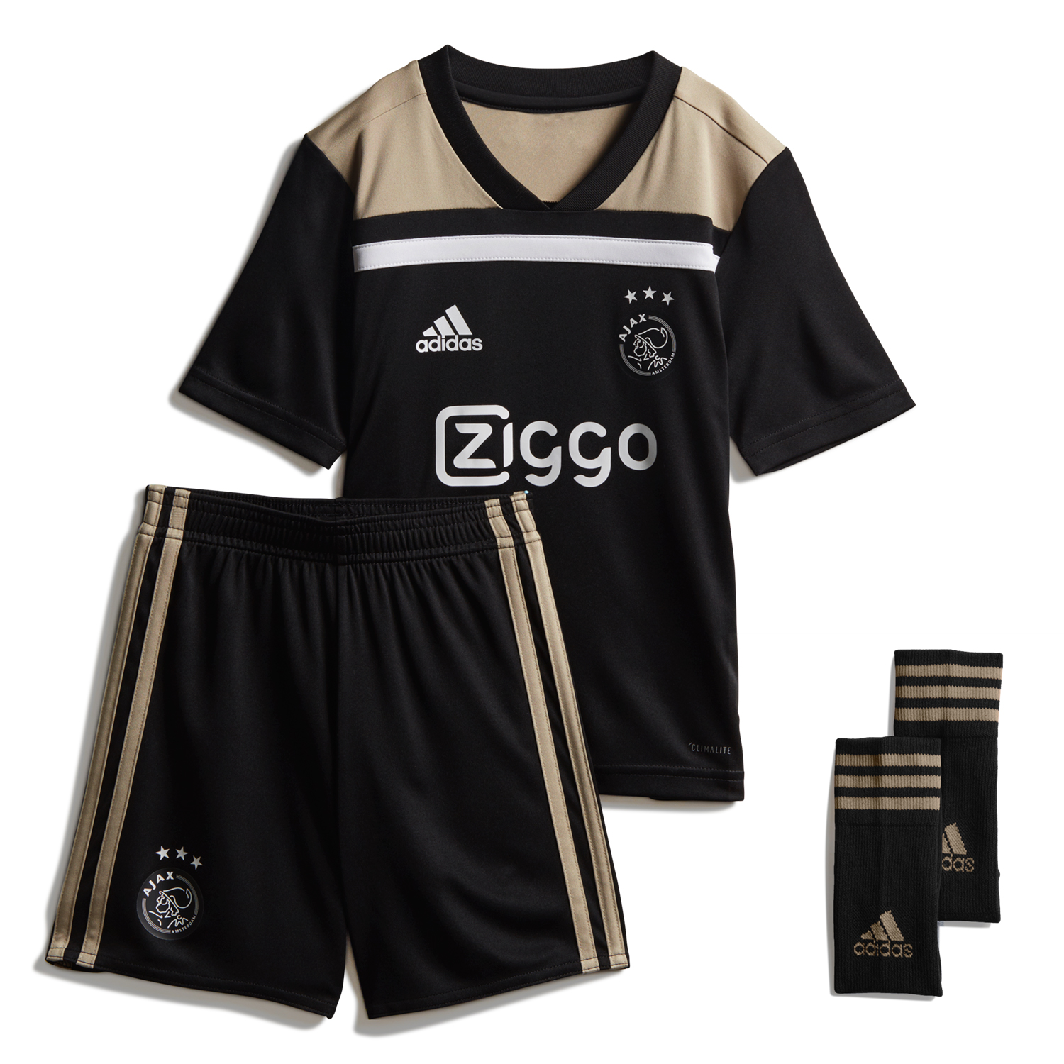 Kids Ajax Soccer Jerseys 2018-19 Away Football Sets (Shirt + Shorts + Socks)