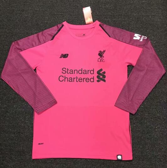 Liverpool Long sleeve Goalkeeper Soccer Jerseys 2018-19 Pink Football Shirts