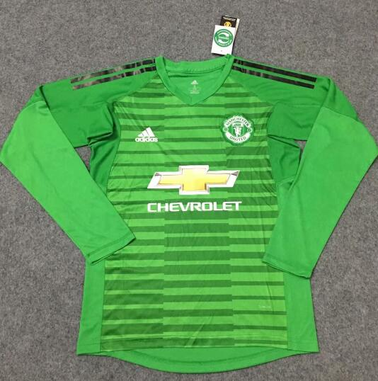 Manchester United Goalkeeper LS Football Shirts 2018-19 Green Soccer Jerseys