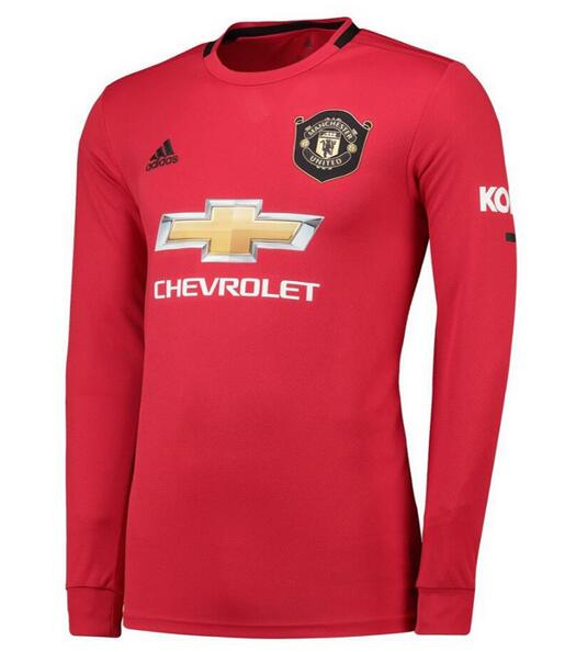 Manchester United Long Sleeve Soccer Jerseys 2019-20 Home Football Shirts