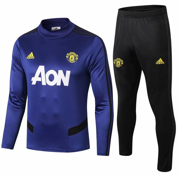 Manchester United Tracksuit 2019-20 Blue High Neck Wear Top + Pants