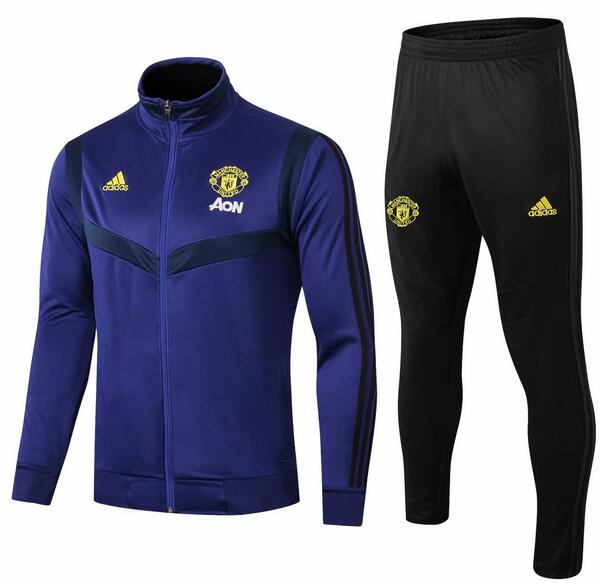 Manchester United Tracksuit 2019-20 Blue High Neck Jacket Top + Pants
