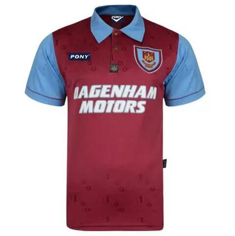 West Ham United Retro Soccer Jerseys 1995 Home Football Shirts