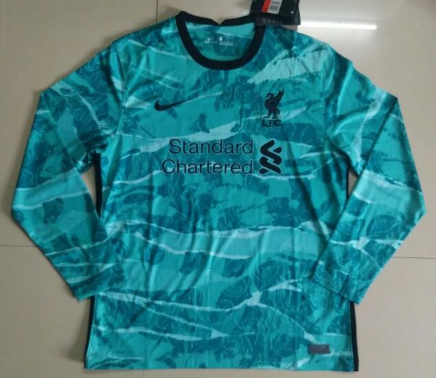 Liverpool Long Sleeve Soccer Jerseys 2020-21 Away Football Shirts