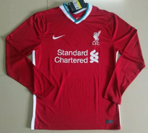 Liverpool Long Sleeve Soccer Jerseys 2020-21 Home Football Shirts