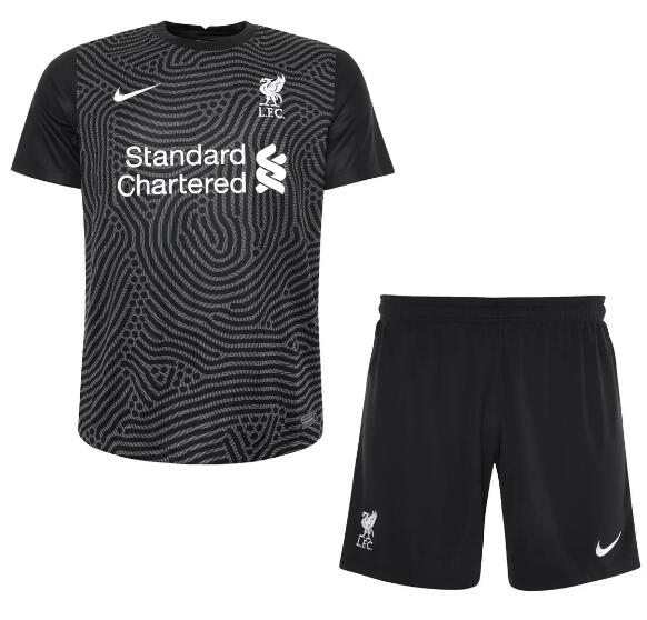 Liverpool Kids Soccer Jerseys 2020-21 Goalkeeper Black Football Kits