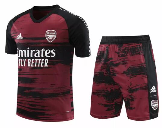Arsenal Training Kits 2020-21 Red Black Football Suits
