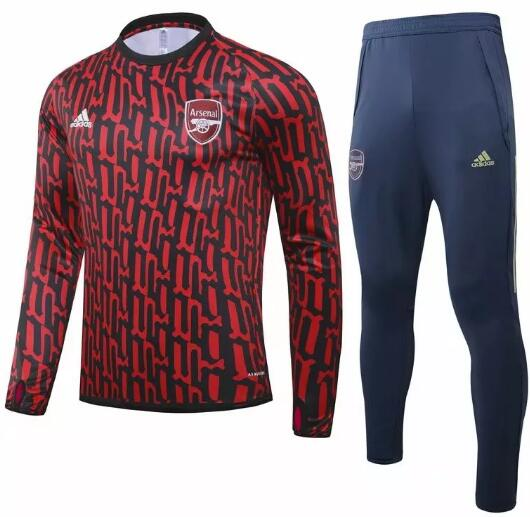 Arsenal Training Kits 2020-21 Black Red UCL Top + Pants