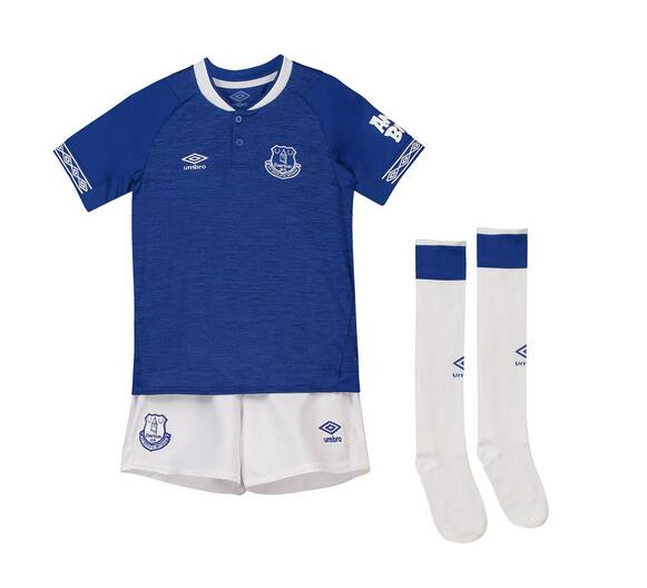 Kids Everton Soccer Jerseys 2018-19 Home Football Kits (Shirt + Shorts + Socks)