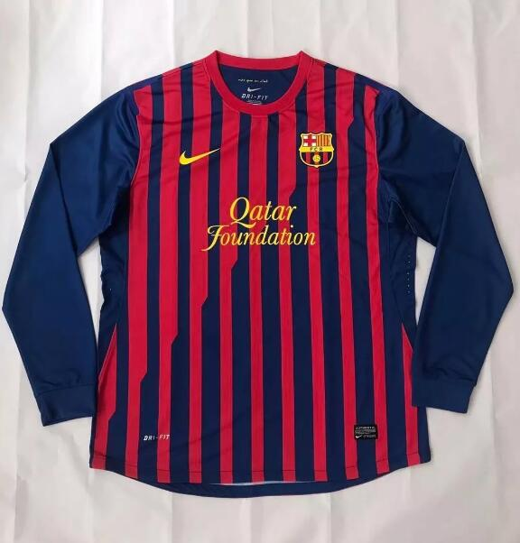 Barcelona Retro Long Sleeve Soccer Jerseys 2011-12 Home Football Shirts