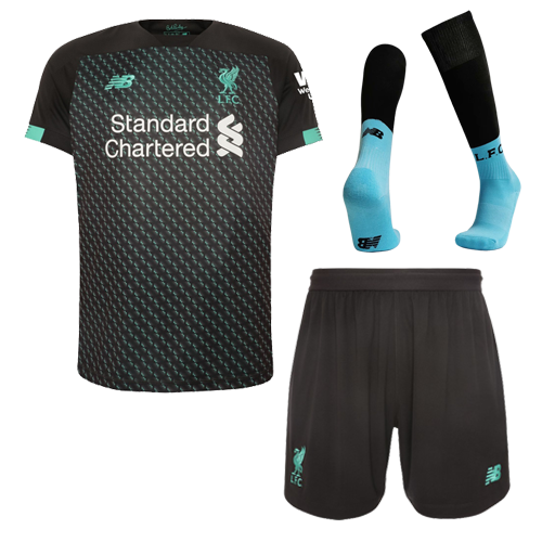 Liverpool 19/20 Third Away Black&Green Soccer Jerseys Whole Kit(Shirt+Short+Socks)