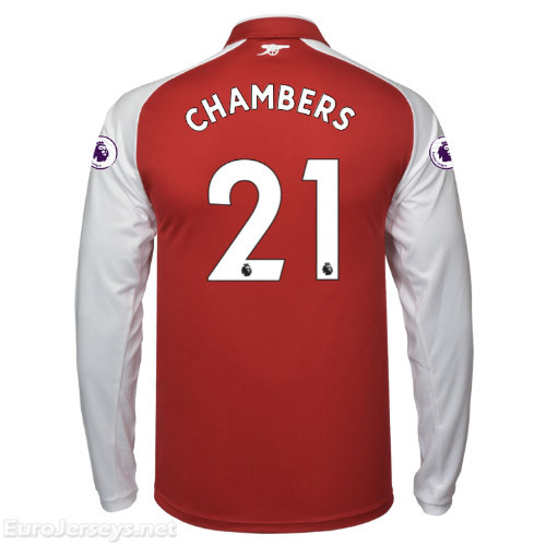 Arsenal 2017-18 Home CHAMBERS #21 Long Sleeved Shirt Soccer Jersey