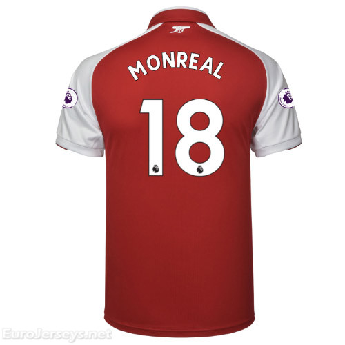 Arsenal Home Best Wholesale Football Kit 2017-18 MONREAL #18 Cheap Soccer Jerseys