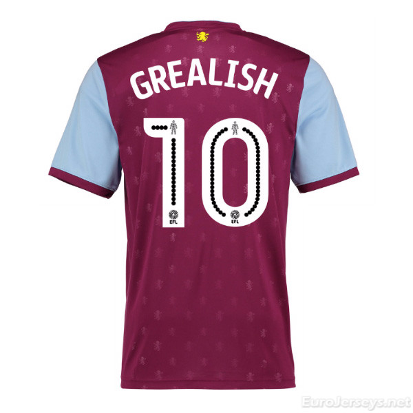 Aston Villa 2017-18 Home Grealish #10 Shirt Soccer Jersey