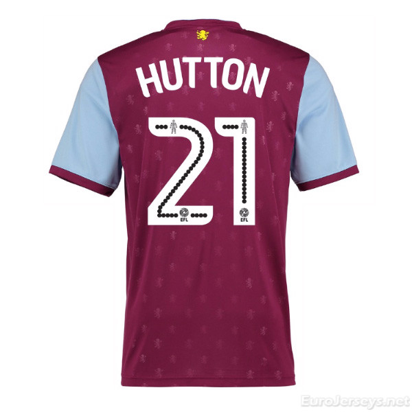 Aston Villa 2017-18 Home Hutton #21 Shirt Soccer Jersey