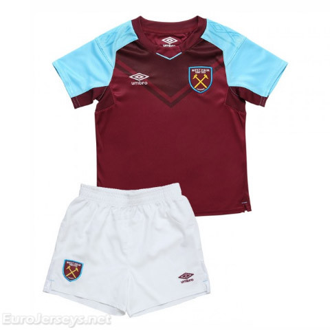 West Ham United 2017-18 Home Kids Soccer Kit Children Shirt And Shorts