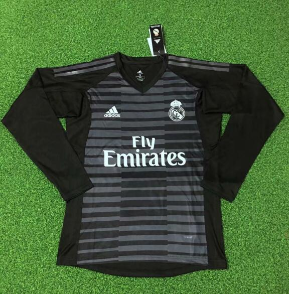 Real Madrid Goalkeeper Long Sleeve Soccer Jerseys 2018-19 Black Football Shirts