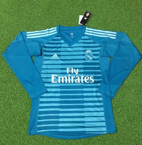 Real Madrid Goalkeeper Long Sleeve Soccer Jerseys 2018-19 Blue Football Shirts