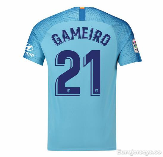 Gameiro 21 Atletico Madrid Soccer Jerseys 2018-19 Away Football Shirts
