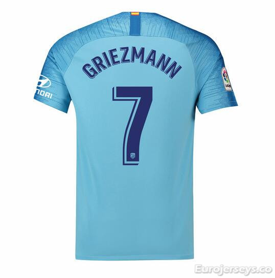 Griezmann 7 Atletico Madrid Soccer Jerseys 2018-19 Away Football Shirts