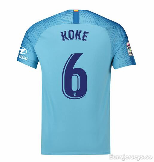 Koke 6 Atletico Madrid Soccer Jerseys 2018-19 Away Football Shirts