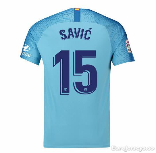 Savic 15 Atletico Madrid Soccer Jerseys 2018-19 Away Football Shirts