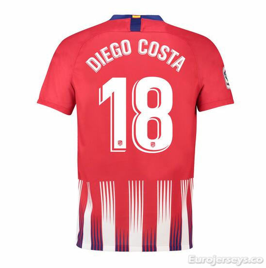 Diego Costa 18 Atletico Madrid Soccer Jerseys 2018-19 Home Football Shirts