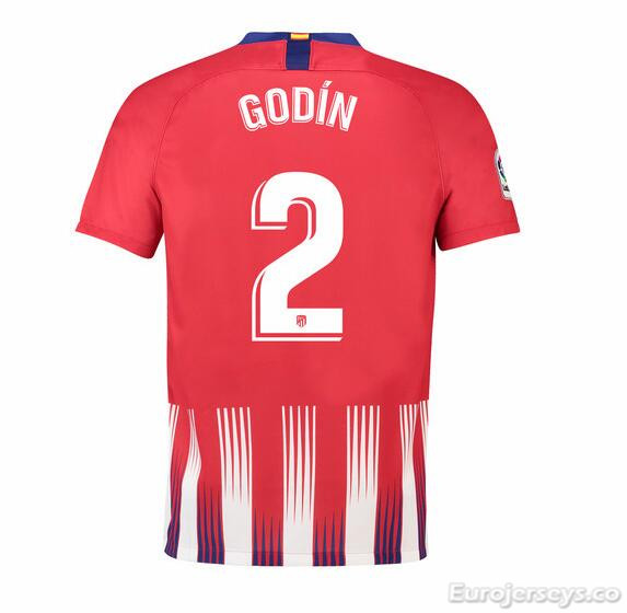 Godín 2 Atletico Madrid Soccer Jerseys 2018-19 Home Football Shirts