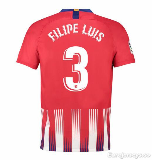 Filipe Luis 3 Atletico Madrid Soccer Jerseys 2018-19 Home Football Shirts