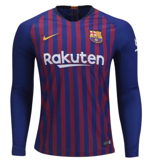 Barcelona Long Sleeve Soccer Jerseys 2018-19 Home Football Shirts