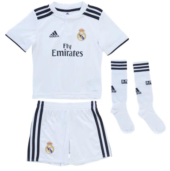 Kids Real Madrid Soccer Jerseys 2018-19 Home Football Kits (Shirt + Shorts + Socks)